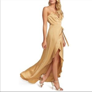 NWT SMYM Mariah Wrap Evening Dress True Gold XS